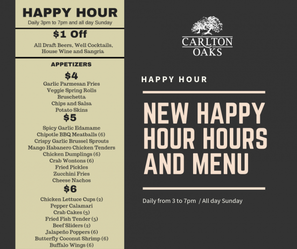 New happu hour hours and menu